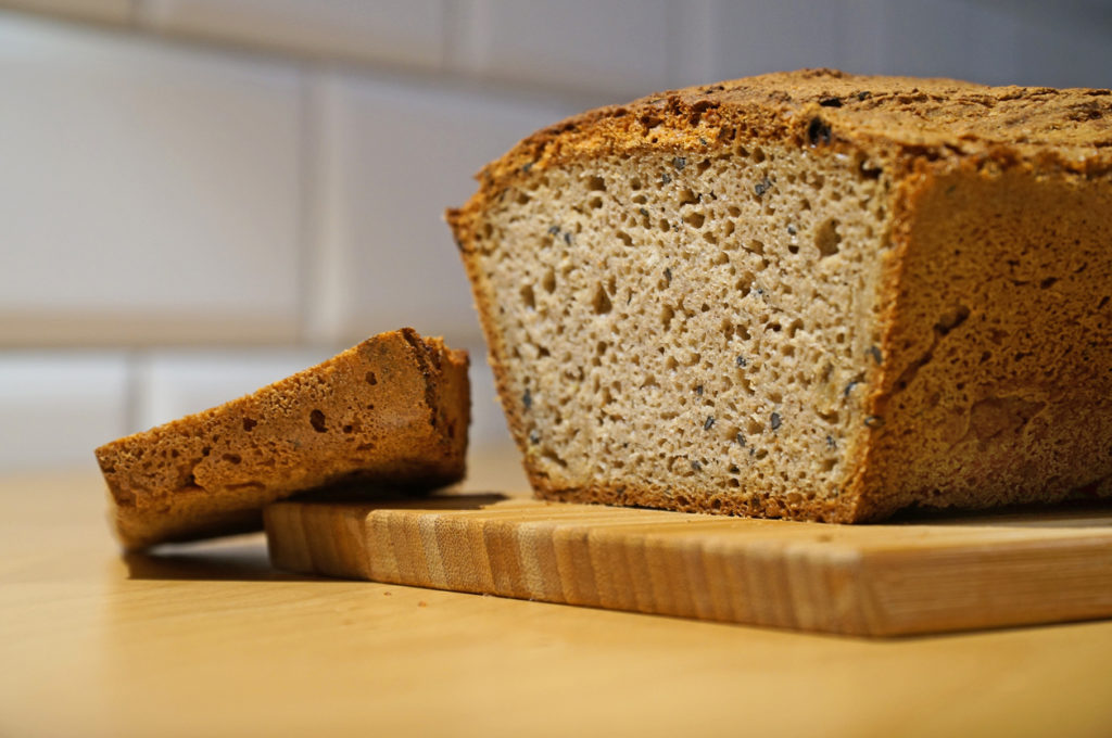 gluten-free bread made from buckwheat flour on the kitchen table