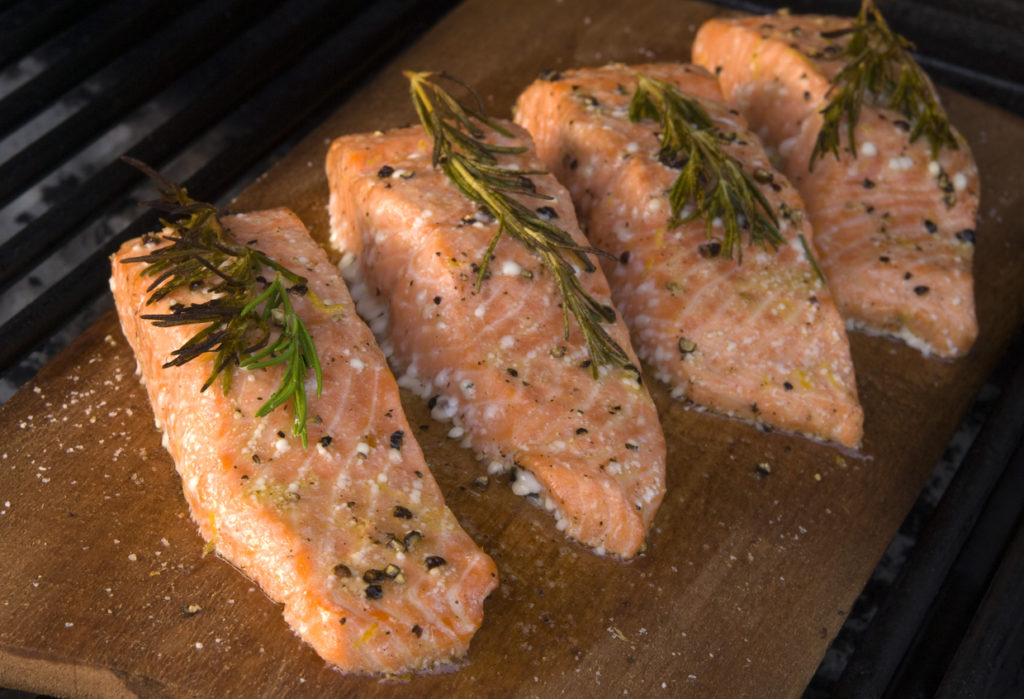 Plank salmon filet on the grill